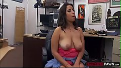 Busty slut Nina gives Shawns cock a bj and hard fuck