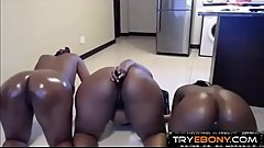 Ebony busty booty threesome