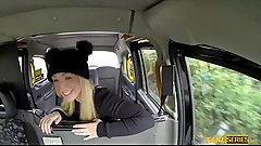 Busty hot blonde Amber Deen sucks and fucks taxi driver