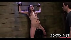 Hot chick gets banged and gives a sloppy oral-sex in bdsm scene