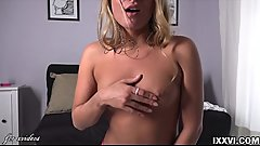 Hot blonde Sofi screaming during orgasm from sex toy