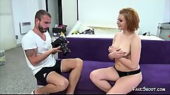 Amateur redhead chick fucked on casting