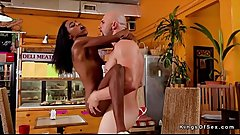 Petite black bartender bangs big cock