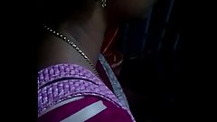 Tamil young married aunty grouped and showing deep cleavage in bus with saree