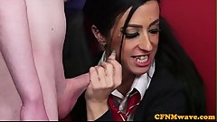 CFNM fetish babe teaches schoolgirls to suck