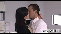 Office workers manhandle and bang young captivating chick