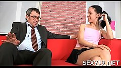 Bewitching beauty is delighting old tutor'_s hard male rod