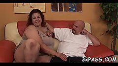 Boy and fattie are having wonderful oral pleasure before camera