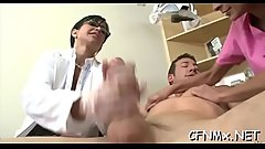 Awesome cfnm sex with sexy babe sucking and fucking hard