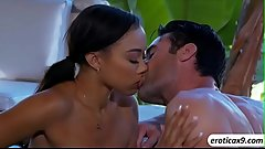 Gorgeous ebony babe Adrian Maya in a steamy threesome