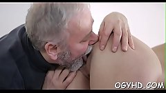 Alluring juvenile seductress sucks and rides old wang