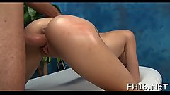 Hot 18 year old babe gets screwed hard doggy style by her massage therapist