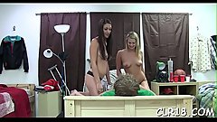 Sexually excited college hawt slut fucked on the game room table