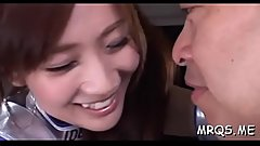 Nice-looking big eyed asian chick sucks and fucks passionately