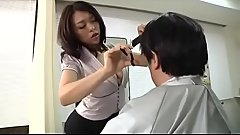 Asian Japanese man rubs female barber'_s crotch - Pt2 On HDMilfCam.com