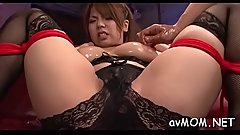 Constricted asian mom uses dildo to make her pussy wet