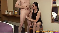 Dominant mature teasing during CFNM fetish