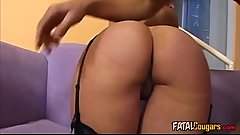 Cougar With Stockings Enjoys Big Dick