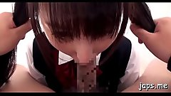 Cute asian chick in between legs to give hot pov blowjob